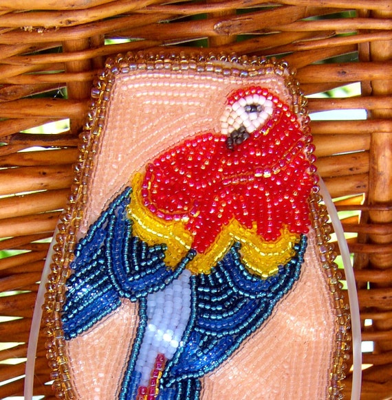 Beadwork Scarlet Macaw Brooch, Pink, Red,