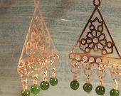 Green Marble Boho Chandelier Earrings
