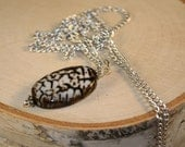 Long Necklace with Crackle Agate Stone- Brown and White Agate
