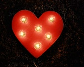 "12""  distressed red heart wall light"