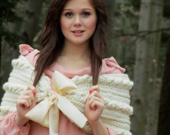 Crochet Pattern for the Cables and Ribbon Wrap PDF file Instant Download Permission to Sell Finished Items