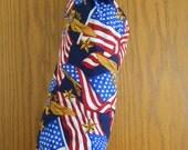American Flag and American Eagle Print Fabric Plastc Bag Holder
