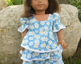 Blue Flowered Dress for American Girl and 18 inch dolls