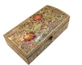 Lacquer ware inlaid Necre mother of pearl handcrafted jewelry case,jewel box trinket box with flower Design