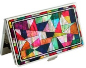 Nacre abalone shell Mother of pearl Business cards holder credit ID card organizer case quilt design #76