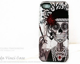 "Flapper Girl Skull iPhone 5c Case - ""Mrs Gloria Vanderbone"" - Art Deco Black and White Sugar Skull iPhone 5c TOUGH Case"