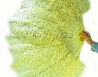 """Lemon single layer Ostrich Feather Fan Burlesque Dance costume 25""""x45"""""""