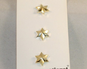 Vintage Chunky Fun Buttons - Gold Stars, 3 Buttons - Acrylic Button, Back Shank