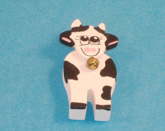 Handpainted Miniature Chunky Wood Happy Cow with Bell, Black & White Spots - Great Accessory for Your Dollhouse, Shadow Box, Diorama