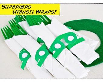 Super Hero Comic Book Party Napkin Rings- Printable