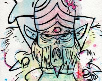 Mojo Jojo Inspired by The Power Puff Girls Mini Print 5x7 inch inch inkjet print / Cartoon Network Fan Art