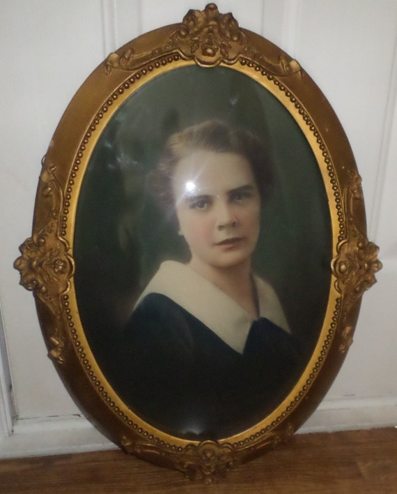 antique oval portrait frame convex glass