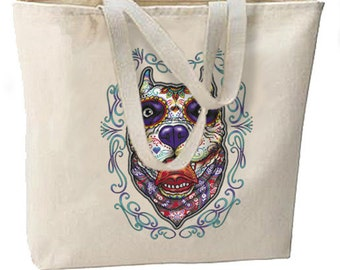 Sugar Skull Pitbull New Large Tote Bag Travel Events Day of the Dead