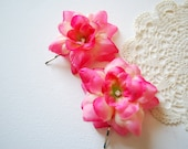 pink bridal flowers, set of two bobby pins, weddings accessories, pink hair pieces, bridesmaids, flower girls, photo prop