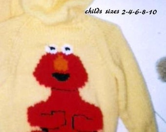 Childs hooded Hand knitted Elmo Cardigan sweater with hood and Zipper front