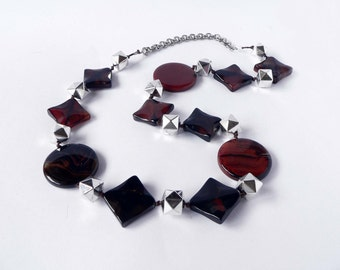 Statement brown necklace handmade with semiprecious agate stones. ooak made in Italy.