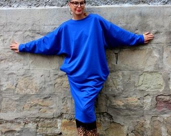 Royal Blue Maxi Dress, Midi Dress, Fall dress, Oversized dress, Long sleeve dress, Plus size dress, Plus size midi dress