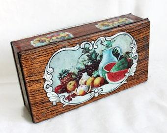 Summer Holiday Table. Still life, vintage tin box, fruit arrangement, Nature Morte. Earthy home decor. Litho art. Watermelon. Kitchen Pantry