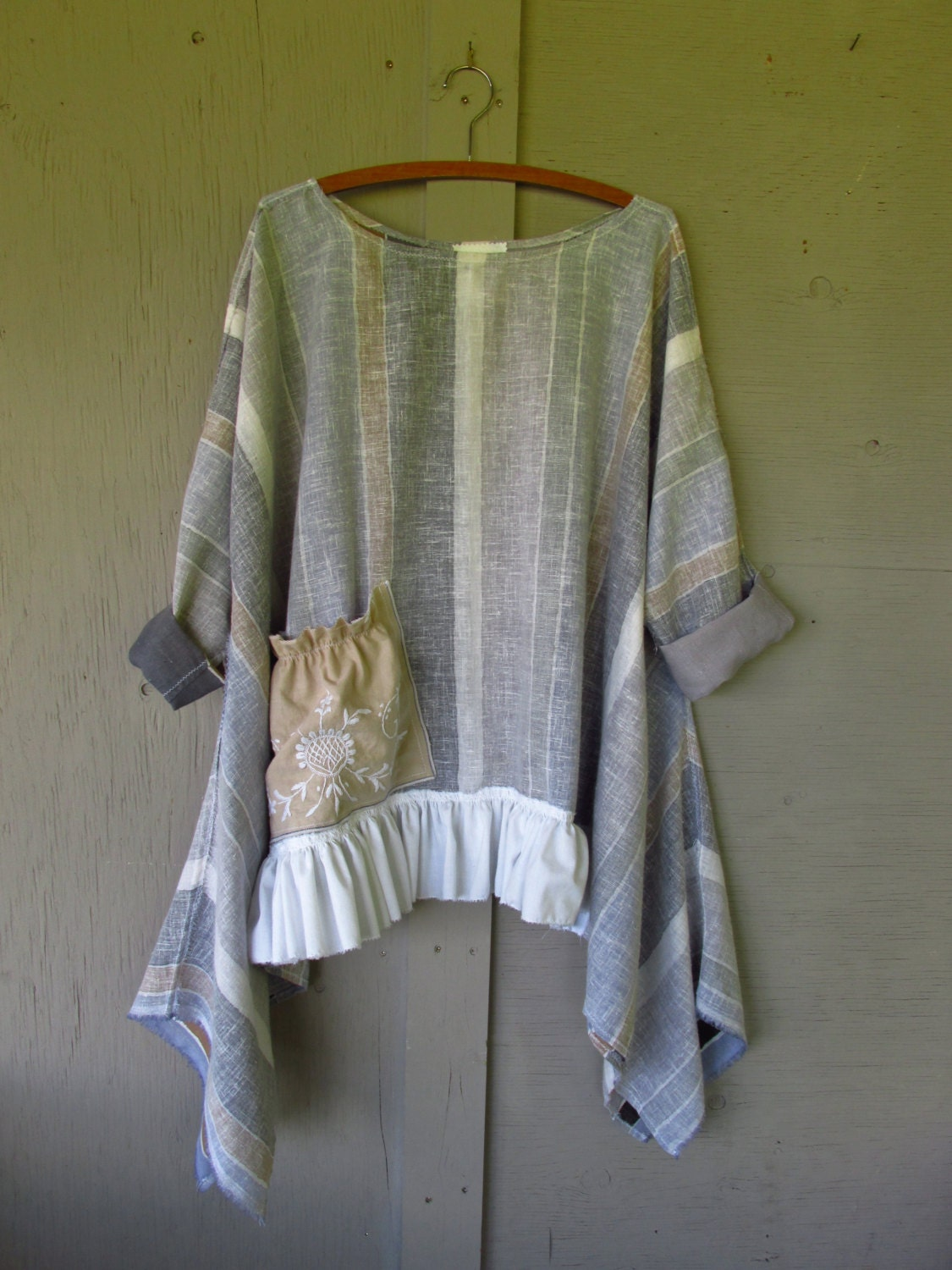 French Shabby Summer Tunic Bohemian Top Boho Funky Lagenlook