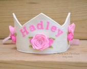 Felt Rose Crown, Personalized, Birthday Crown, Pink Roses, Princess, Dress Up