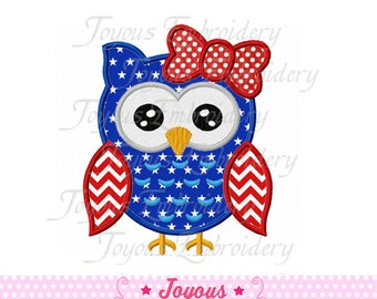 Instant Download 4th of July Girl Owl Applique Machine Embroidery Design NO:1506
