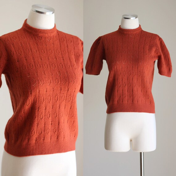 Vintage 60s Rust Orange Sweater - Short Sleeve Pin Up Knit Top - Eyelet Knit - Size Small / Medium