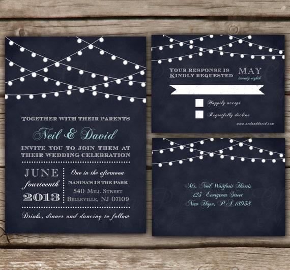 String Lights Wedding Invitation : String Light Wedding Invitation & RSVP Postcard by chitrap