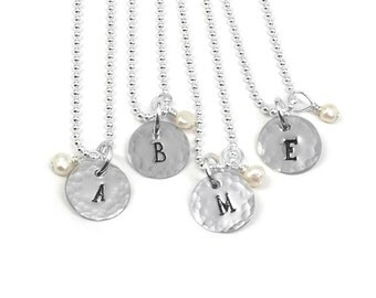 Monogram Necklace in Sterling Silver with Hand Stamped Charm