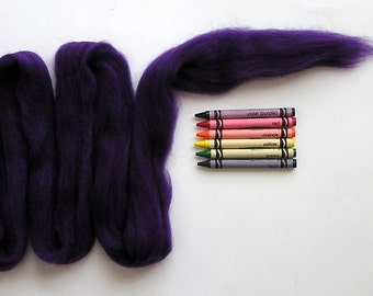 CORRIEDALE WOOL ROVING / Really Purple 1 ounce / corriedale sliver for needle felt, wet felting, doll hair, troll hair, photography braids
