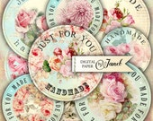 handmade labels - 2 inch circles - set of 15 - digital collage sheet - pocket mirrors, tags, scrapbooking, cupcake toppers
