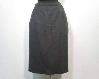 1980s Yves Saint Laurent Rive Gauche Medium Grey Wool Pencil Skirt YSL