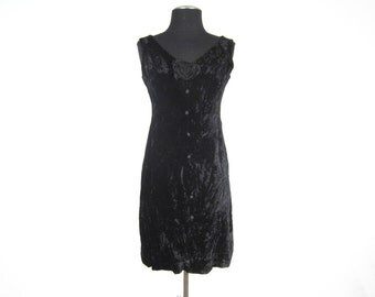 1960s Sleeveless Black Velvet Wiggle Dress with Large Rosette and Decorative Buttons -- small