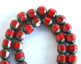 6 mm Red Picasso Opaque Faceted Tube Beads