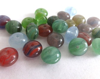 25 Colorful Rondell Glass Beads