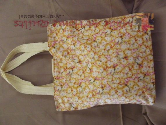Sewn/ Quilted: Large Fabric Knitting Tote Bag by MadeAtHomeQuilts
