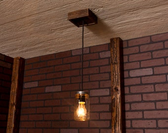 Mason Jar Chandelier With Reclaimed Wood and 1 Pendant. R-66-CMJ-1