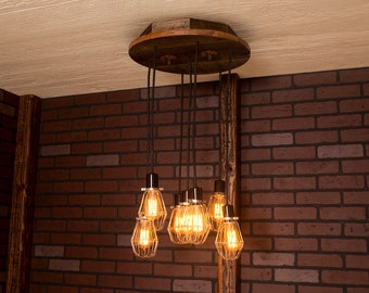 Industrial lighting, Industrial Chandelier, Nickel With Reclaimed Wood and 7 Pendants. R-18C-NC-7