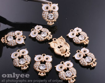 2pcs-21mmX15mm Gold plated Brass Cute Owl With Enamel and Cubic Charms,pendants(K542G)