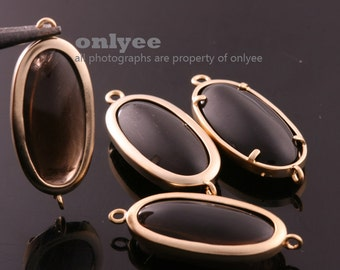 2pcs-27mmX11mmMatte Gold plated Brass Framed Oval Glass Jade Connectors-Smoky Quartz(M344G-E)