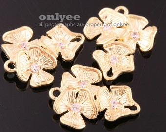 6pcs-15.7mm x13mmGold plated Brass Three Flowers with Zircon connectors Charms(K690G)