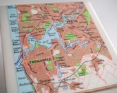 1992 Perth Australia Handmade Vintage Map Coaster - Ceramic Tile Coaster - Repurposed 1990s Atlas - OOAK Drink Coasters