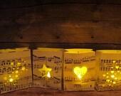 4 Mini Music Luminaries, Music Escort Cards, Music Decorations, Wedding Music Theme, Seating Chart, Favors, Place Cards, Sheet Music Decor