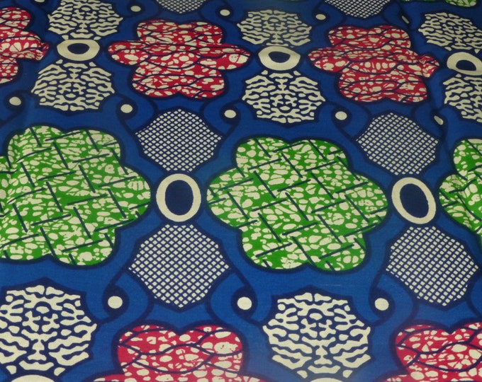 African Fabric Real Cotton Wax Prints Sold By Yard ( Tissues Africains)