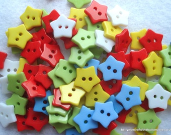 13mm Resin Star Shape Buttons Pack of 20 Mixed Colours Star Buttons Star1
