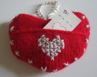 Red, Hand Knitted Heart, Featuring A  Pocket With Small, Embroidered Greeting Card.