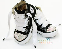 Infant, Toddler Baby Girl High Top Black Converse® All Star® Chuck Taylor's® With White Ribbon Laces & Swarovski® Bling Crystal Rhinestones