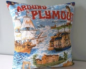 Nautical Plymouth Cornwall Map Cushion / Pillow cover Upcycled Teatowel