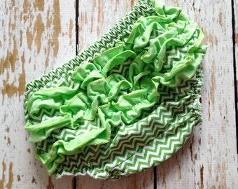 Lime Green Cheveron Ruffle Diaper Cover-Ruffled Diaper Cover - Cheveron Diaper Cover - Green Ruffle Diaper Cover