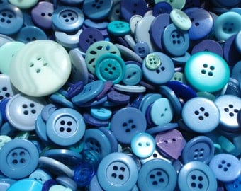 Blue Sewing Button Mix 5 to 30mm