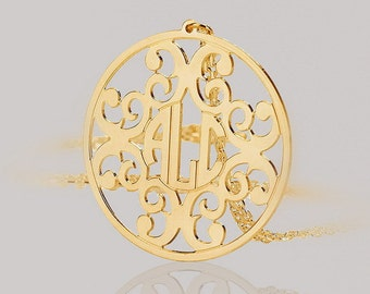 Monogram necklace - 1.5 inch Personalized Monogram - 925 Sterling silver 18k Gold Plated